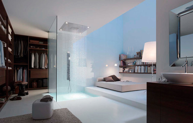 Jika Anda tidak keberatan membuat kamar tidur Anda sedikit berantakan, shower praktis ini cocok untuk Anda.