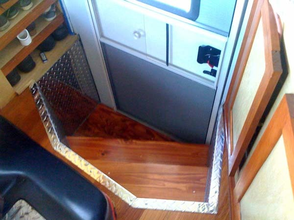 Even the stairs leading into this luxury RV were awesome.