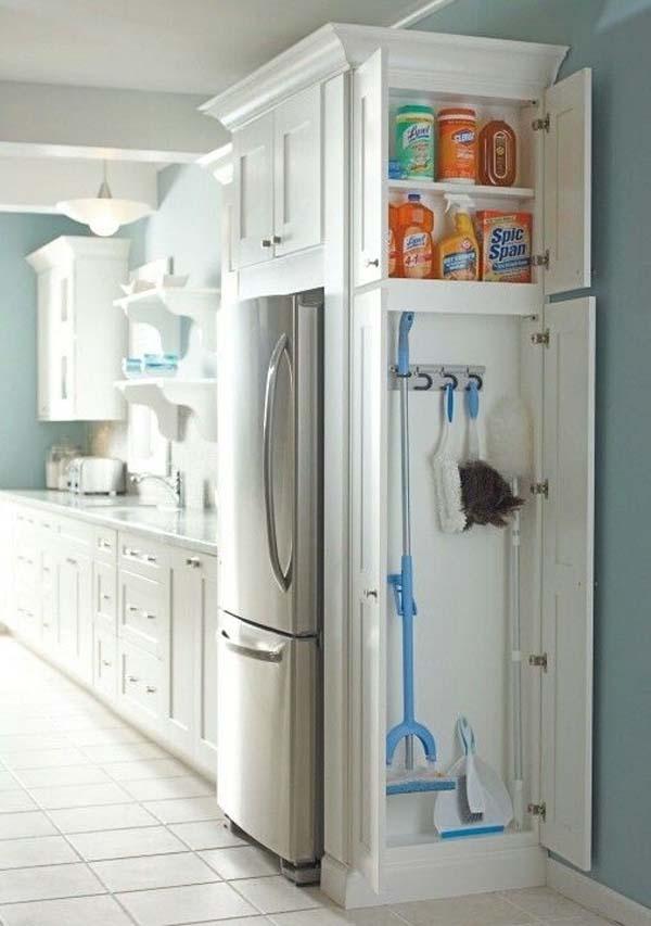 21.)在厨房的额外空间中增加一个小柜子,用于清洁耗材。