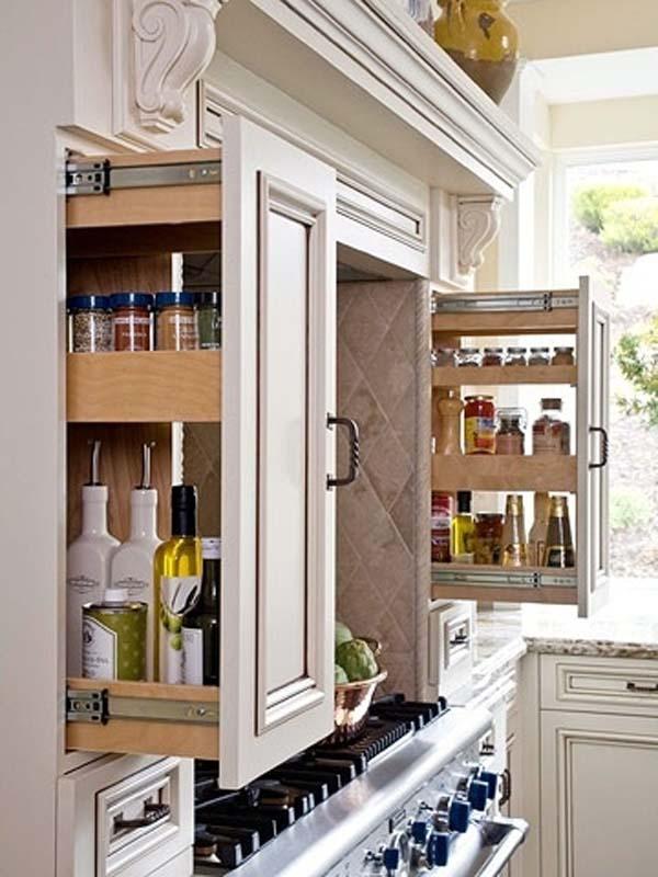 18.)在家里使用滑出式抽屉盛放香料和食品储藏室物品。