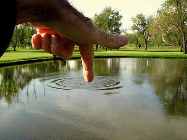 17.) Big finger... or tiny pond?