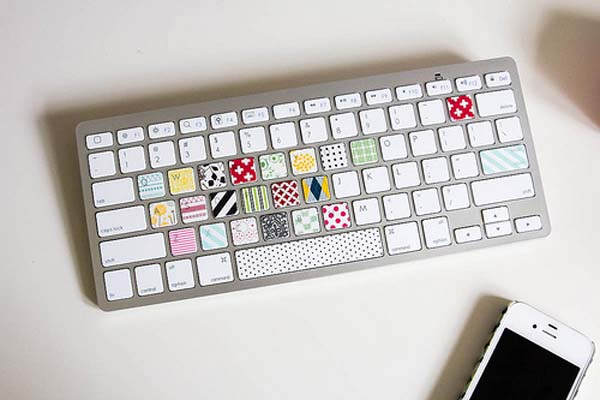 17.) You can also use Washi tape to personalize your keyboard.