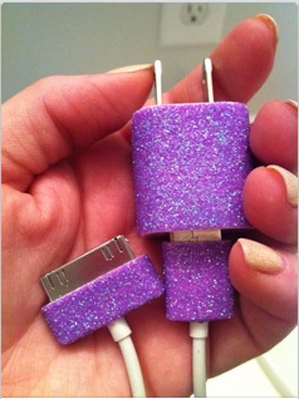 16.) Personalize your charging cables with nail polish...