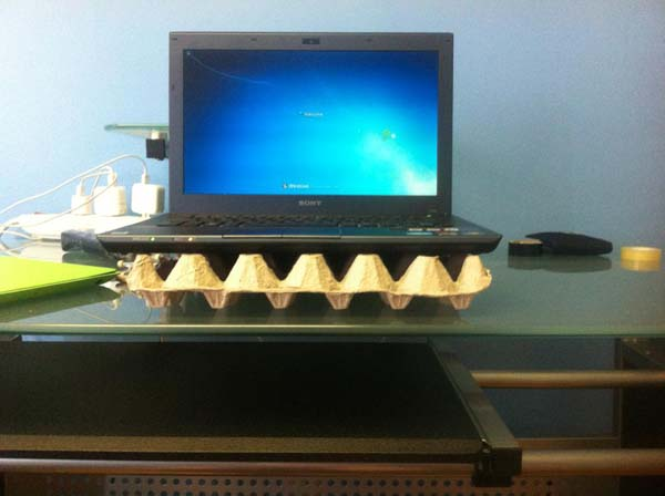 13.) Overheating laptop? Use an empty egg carton as a stand.