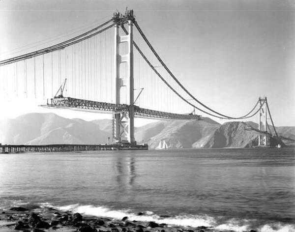 28.)旧金山金门大桥的建设(1937年)。