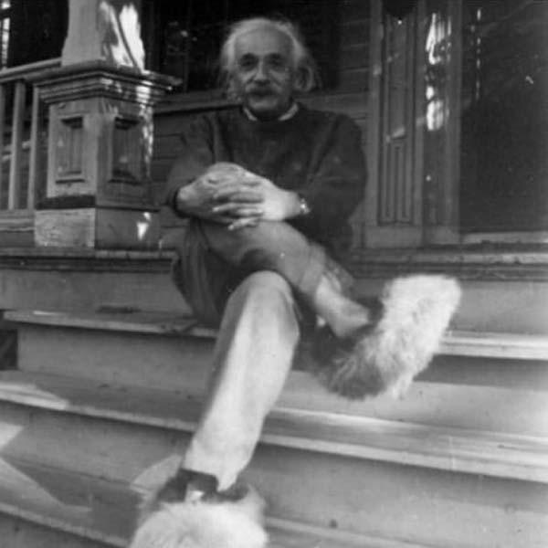 14.)爱因斯坦和他的毛茸茸的鞋子。