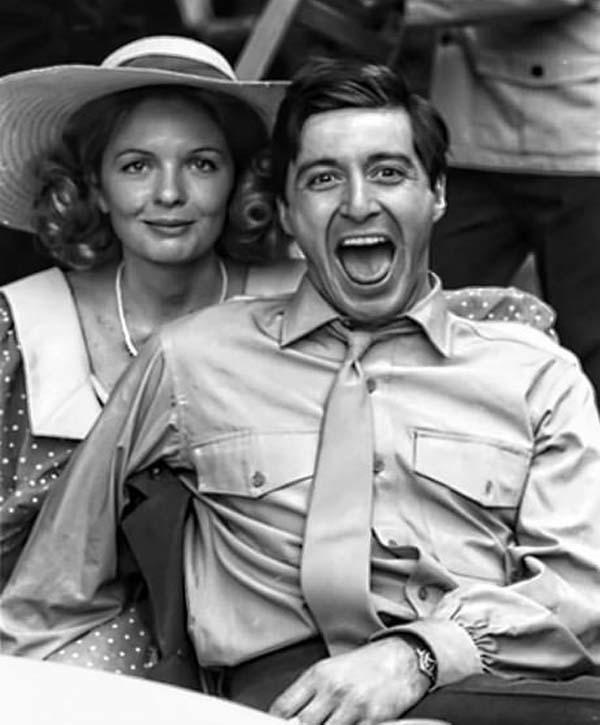 11.)戴安娜·基顿(Diane Keaton)和艾尔·帕西诺(Al Pacino),摄于《教父》(The Godfather),1972年。