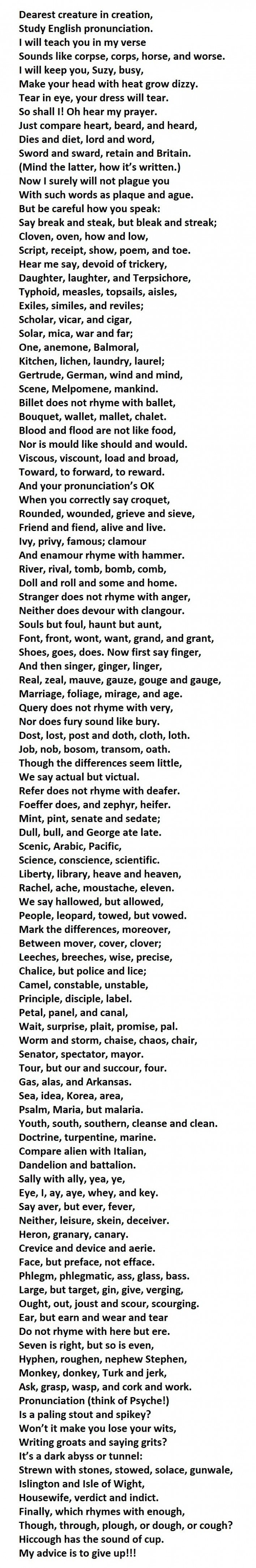 If You Can Pronounce This Entire Poem Your English Is Better Than
