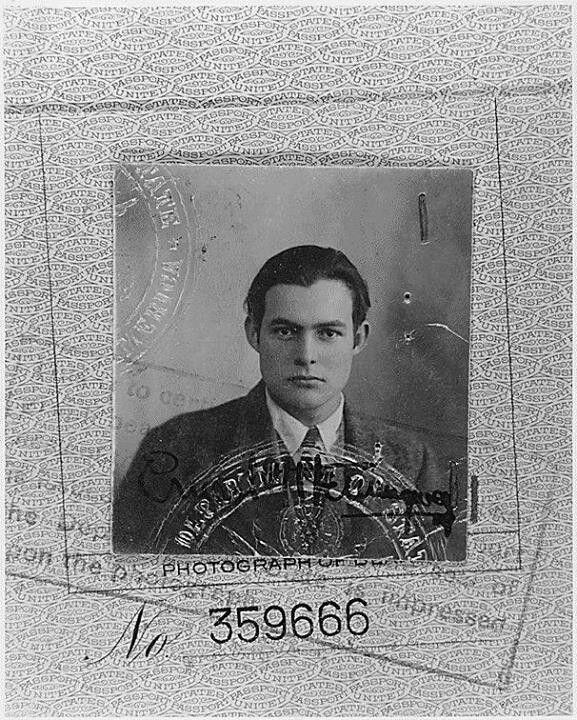Ernest Hemingway's striking passport photo (1923).