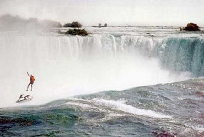 Robert Overacker was jet skiing over Niagara Falls to raise awareness for the homeless. He fell to his death when his parachute failed to open.