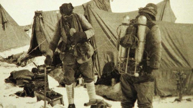 George Mallory and Sandy Irvine at their Mount Everest base camp in 1924. Neither came down from the mountain alive.