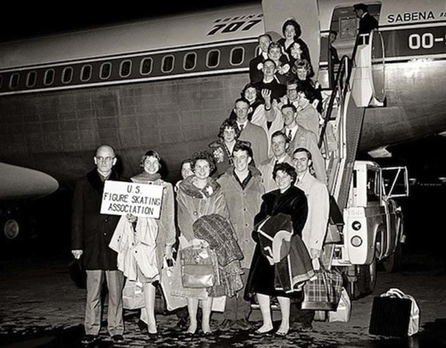 The 1961 U.S. figure skating team posing for a photo before their flight to the World Figure Skating Championship in Belgium. The plane crashed while attempting to land.