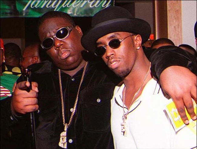 Rapper Notorious B.I.G. leaving a party minutes before he was killed in a drive-by shooting.
