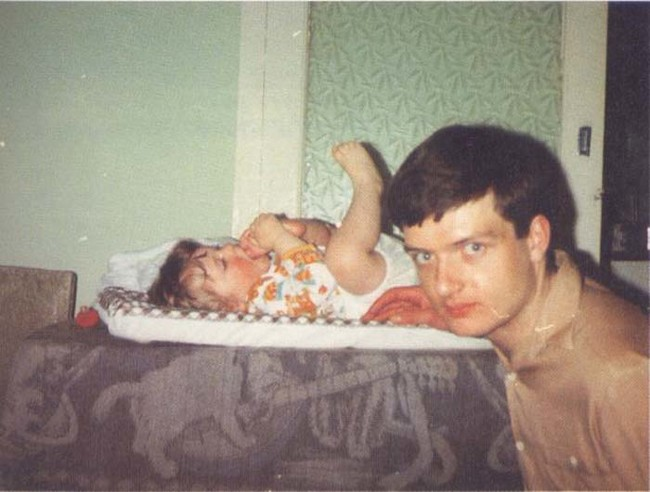 Ian Curtis, singer for '70s rock band Joy Division, posing with his infant daughter just five days before he took his own life in 1980.