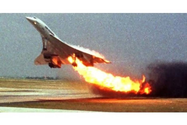 Concorde Flight 4590 as it caught fire during takeoff.