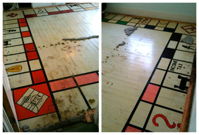 When this family ripped up a carpet, they found a giant Monopoly board.