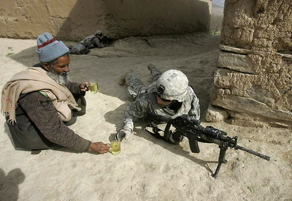 11. When this civilian brought something to drink to a soldier fighting on his own soil.