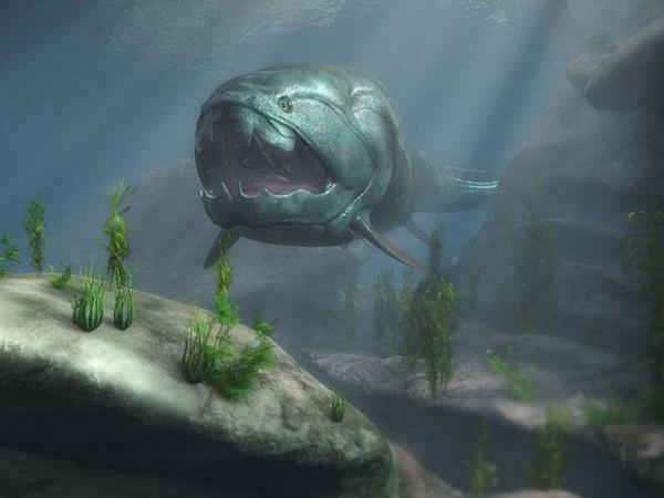 """15.)Dunkleosteus:或"""" Dunkle的骨头"""",是有史以来最大的装甲颚鱼之一。 它是海洋中最猛烈的掠食者之一。 它可能长达10米,重3.6吨。"""