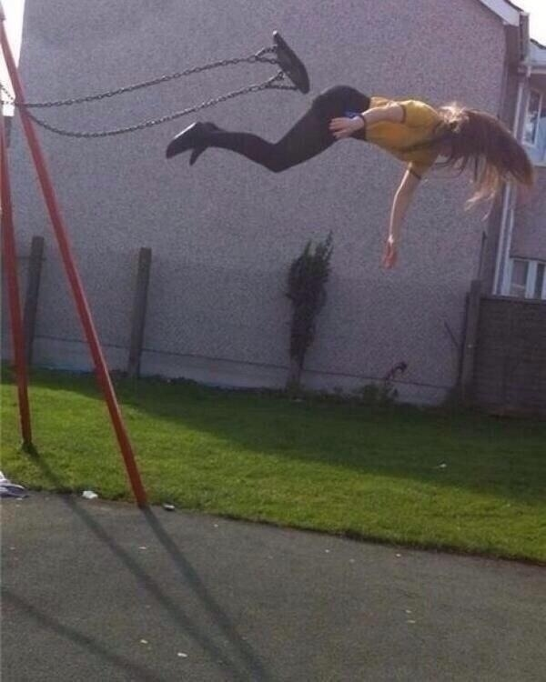 5. Taken before she realized jumping off of a swing was a really stupid idea
