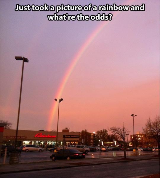 3. Gotta say, the odds are even lower since it's a double rainbow.